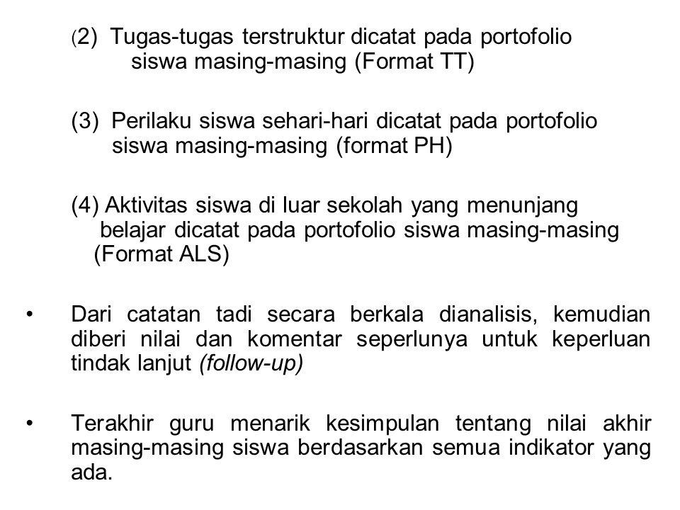 ( 2) Tugas-tugas terstruktur dicatat pada portofolio siswa masing-masing (Format TT) (3) Perilaku siswa sehari-hari dicatat pada portofolio siswa masi