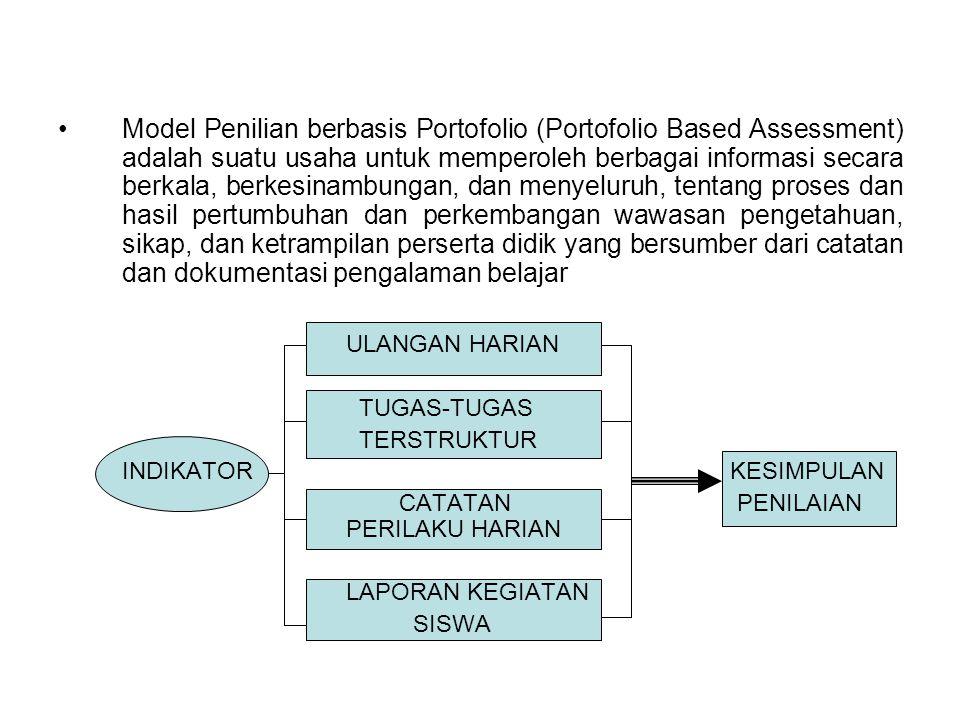 Model Penilian berbasis Portofolio (Portofolio Based Assessment) adalah suatu usaha untuk memperoleh berbagai informasi secara berkala, berkesinambung