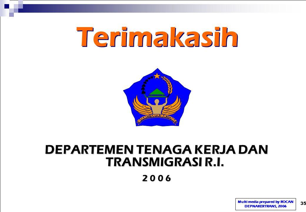 35 DEPARTEMEN TENAGA KERJA DAN TRANSMIGRASI R.I. 2 0 0 6 Terimakasih Multi media prepared by ROCAN DEPNAKERTRANS, 2006