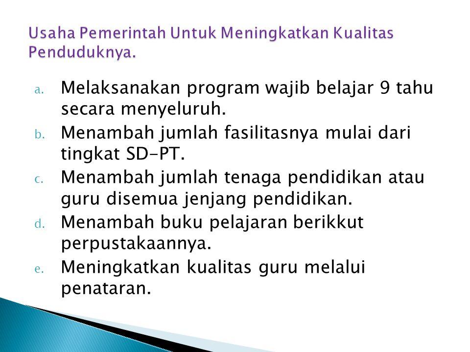 a. Melaksanakan program wajib belajar 9 tahu secara menyeluruh. b. Menambah jumlah fasilitasnya mulai dari tingkat SD-PT. c. Menambah jumlah tenaga pe