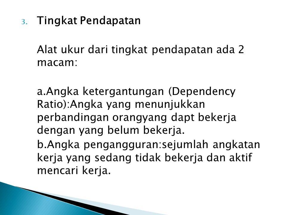 3. Tingkat Pendapatan Alat ukur dari tingkat pendapatan ada 2 macam: a.Angka ketergantungan (Dependency Ratio):Angka yang menunjukkan perbandingan ora