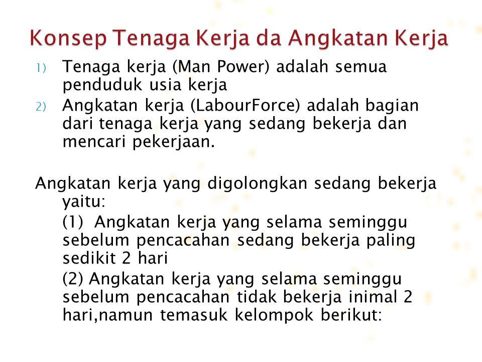 1) Tenaga kerja (Man Power) adalah semua penduduk usia kerja 2) Angkatan kerja (LabourForce) adalah bagian dari tenaga kerja yang sedang bekerja dan m