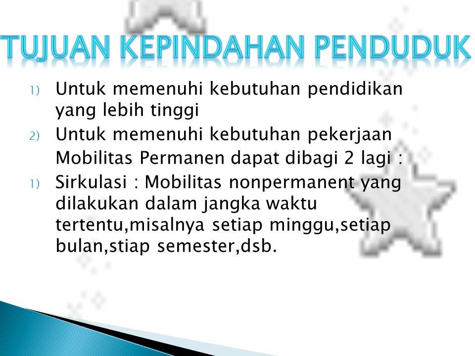1) Untuk memenuhi kebutuhan pendidikan yang lebih tinggi 2) Untuk memenuhi kebutuhan pekerjaan Mobilitas Permanen dapat dibagi 2 lagi : 1) Sirkulasi :