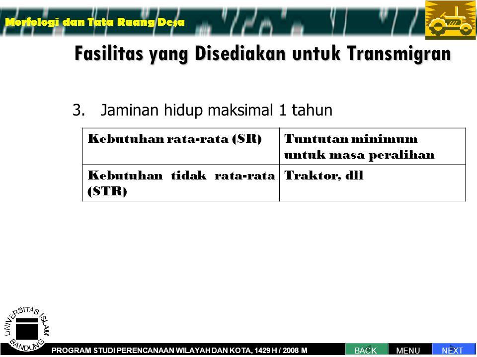 Fasilitas yang Disediakan untuk Transmigran 3.