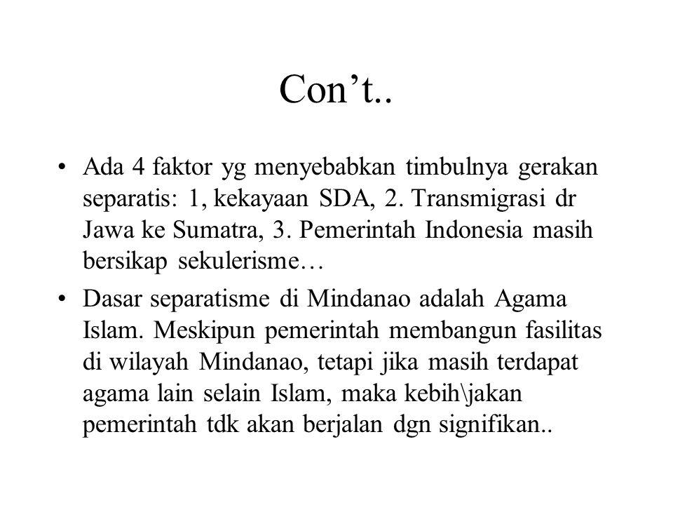 Sesi Diskusi Nia: persoalan separatisme di Aceh, karena ada perbedaan dgn gerakan separatis di Thailand dan Fillipina.
