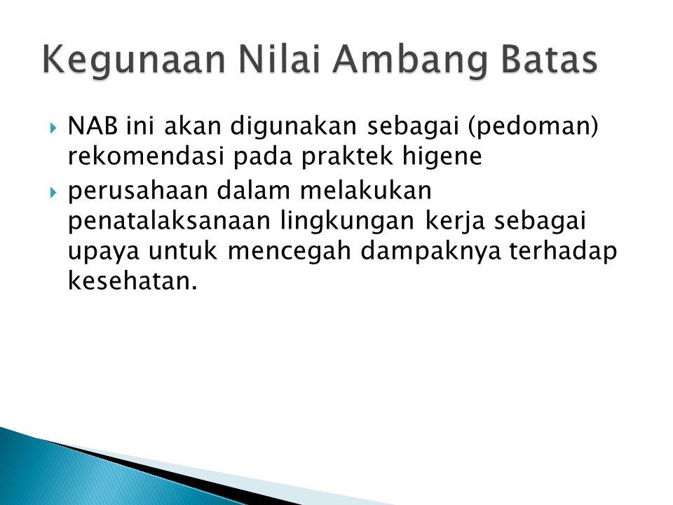 NAB ini akan digunakan sebagai (pedoman) rekomendasi pada praktek higene  perusahaan dalam melakukan penatalaksanaan lingkungan kerja sebagai upaya