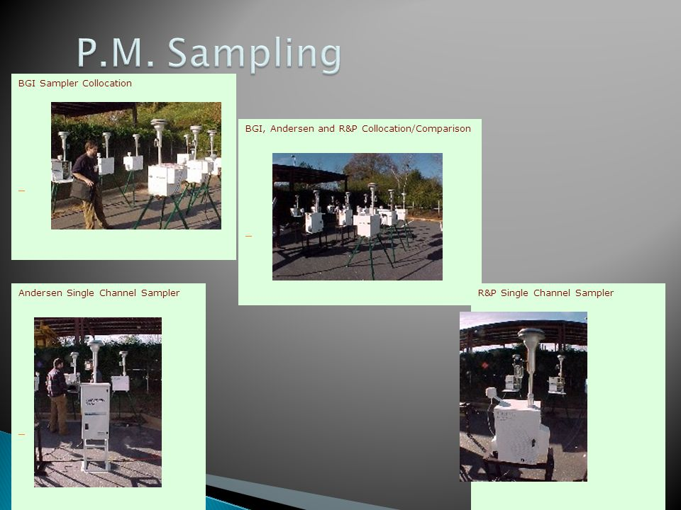 BGI Sampler Collocation BGI, Andersen and R&P Collocation/Comparison R&P Single Channel Sampler Andersen Single Channel Sampler