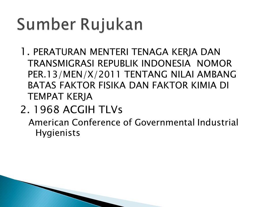 1. PERATURAN MENTERI TENAGA KERJA DAN TRANSMIGRASI REPUBLIK INDONESIA NOMOR PER.13/MEN/X/2011 TENTANG NILAI AMBANG BATAS FAKTOR FISIKA DAN FAKTOR KIMI