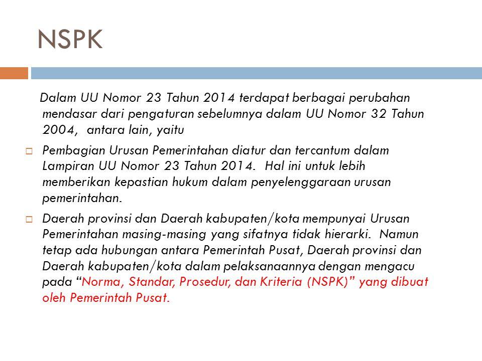 NSPK Dalam UU Nomor 23 Tahun 2014 terdapat berbagai perubahan mendasar dari pengaturan sebelumnya dalam UU Nomor 32 Tahun 2004, antara lain, yaitu  P