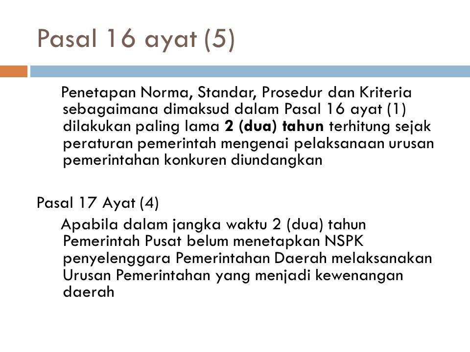 Pasal 16 ayat (5) Penetapan Norma, Standar, Prosedur dan Kriteria sebagaimana dimaksud dalam Pasal 16 ayat (1) dilakukan paling lama 2 (dua) tahun ter