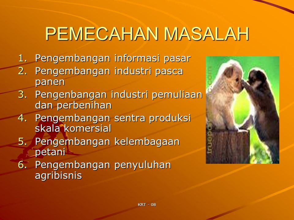 KRT - 08 PEMECAHAN MASALAH 1.Pengembangan informasi pasar 2.Pengembangan industri pasca panen 3.Pengenbangan industri pemuliaan dan perbenihan 4.Penge