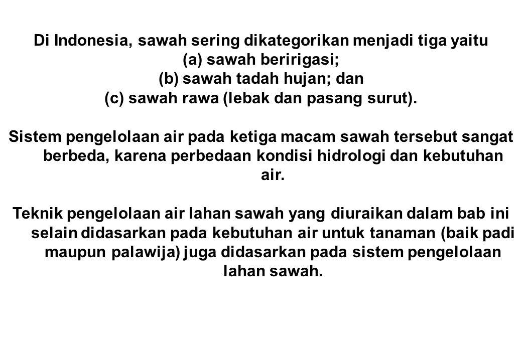 Di Indonesia, sawah sering dikategorikan menjadi tiga yaitu (a)sawah beririgasi; (b)sawah tadah hujan; dan (c)sawah rawa (lebak dan pasang surut). Sis