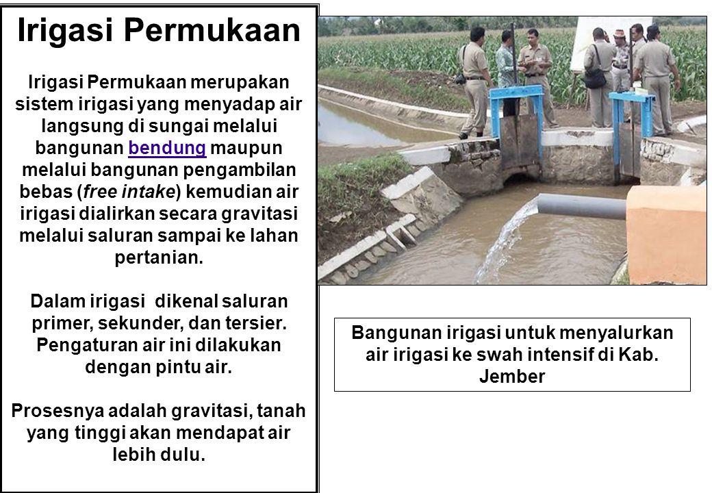 Irigasi Permukaan Irigasi Permukaan merupakan sistem irigasi yang menyadap air langsung di sungai melalui bangunan bendung maupun melalui bangunan pen