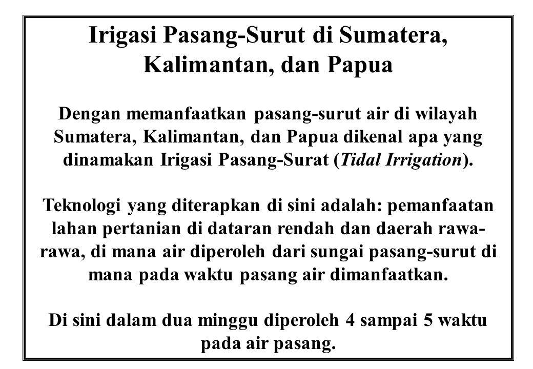 Irigasi Pasang-Surut di Sumatera, Kalimantan, dan Papua Dengan memanfaatkan pasang-surut air di wilayah Sumatera, Kalimantan, dan Papua dikenal apa ya