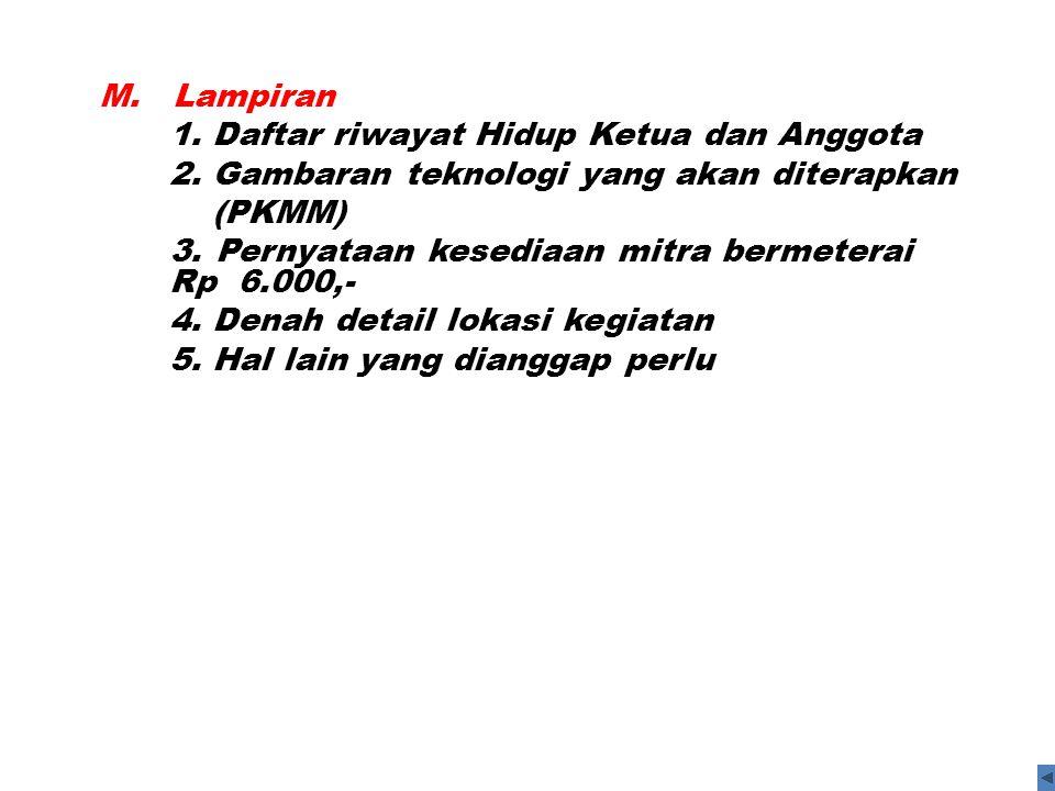M. Lampiran 1. Daftar riwayat Hidup Ketua dan Anggota 2. Gambaran teknologi yang akan diterapkan (PKMM) 3. Pernyataan kesediaan mitra bermeterai Rp 6.