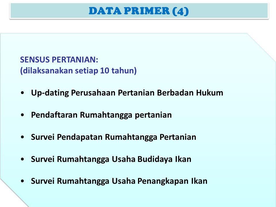 DATA PRIMER (4) SENSUS PERTANIAN: (dilaksanakan setiap 10 tahun) Up-dating Perusahaan Pertanian Berbadan Hukum Pendaftaran Rumahtangga pertanian Surve