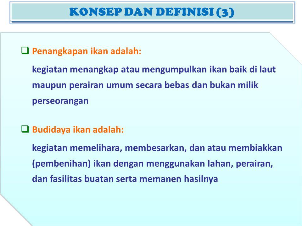KONSEP DAN DEFINISI (2) KONSEP DAN DEFINISI (3)  Penangkapan ikan adalah: kegiatan menangkap atau mengumpulkan ikan baik di laut maupun perairan umum