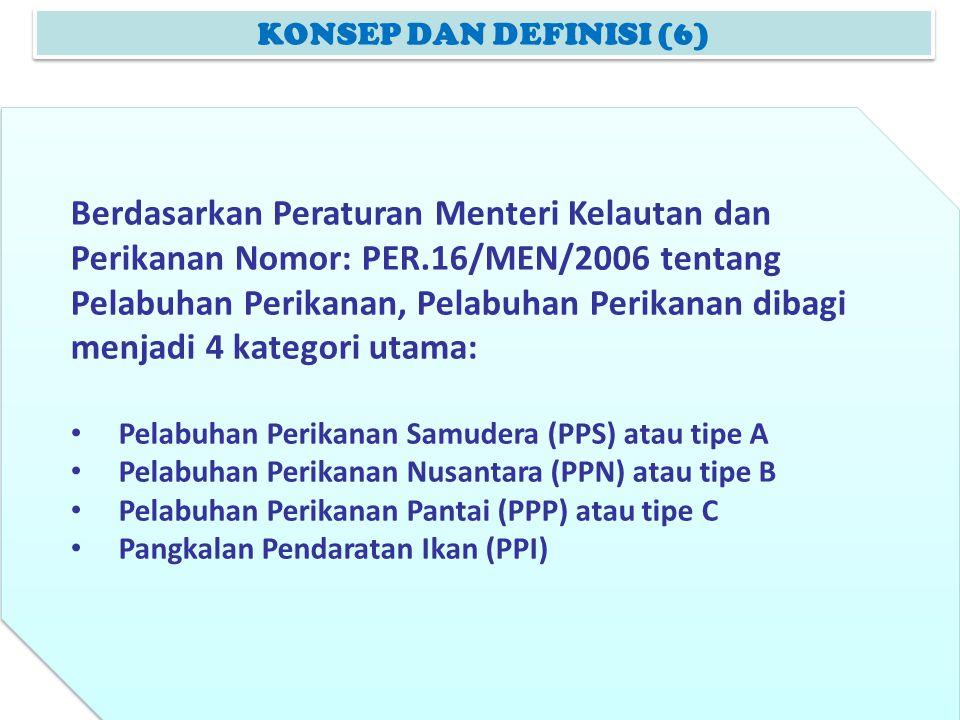 KONSEP DAN DEFINISI (6) Berdasarkan Peraturan Menteri Kelautan dan Perikanan Nomor: PER.16/MEN/2006 tentang Pelabuhan Perikanan, Pelabuhan Perikanan d