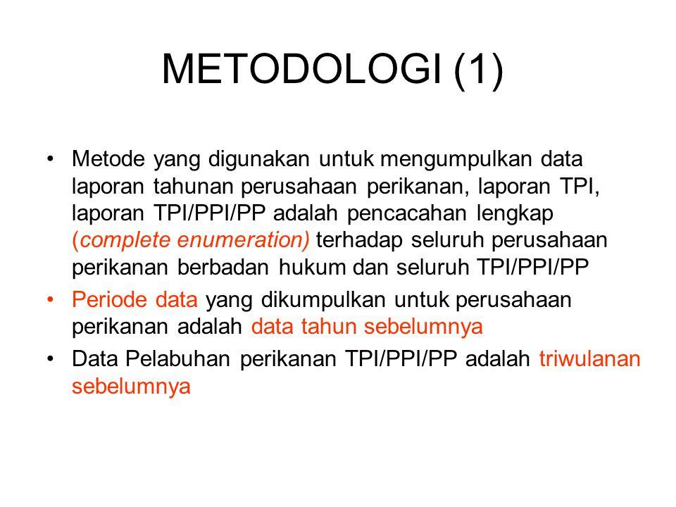 Metode yang digunakan untuk mengumpulkan data laporan tahunan perusahaan perikanan, laporan TPI, laporan TPI/PPI/PP adalah pencacahan lengkap (complet