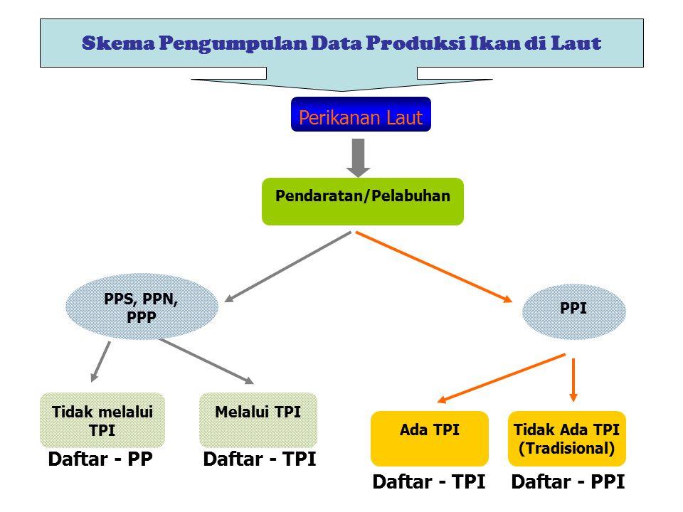 Skema Pengumpulan Data Produksi Ikan di Laut Perikanan Laut Pendaratan/Pelabuhan PPS, PPN, PPP PPI Tidak melalui TPI Melalui TPI Ada TPITidak Ada TPI