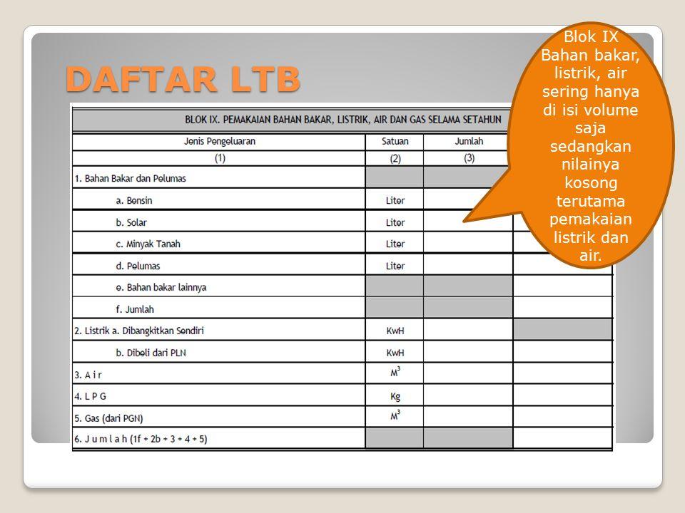 DAFTAR LTB Blok IX Bahan bakar, listrik, air sering hanya di isi volume saja sedangkan nilainya kosong terutama pemakaian listrik dan air.