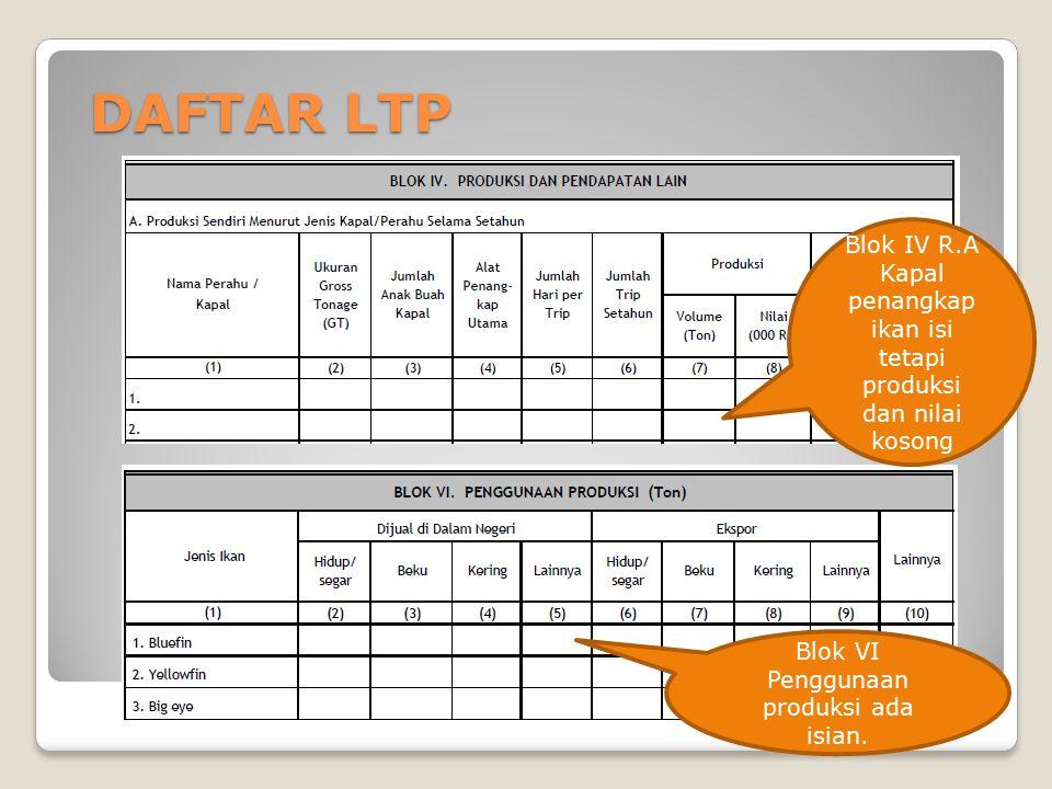 DAFTAR LTP Blok VI Penggunaan produksi ada isian. Blok IV R.A Kapal penangkap ikan isi tetapi produksi dan nilai kosong