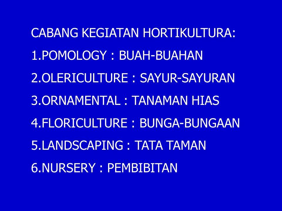 CABANG KEGIATAN HORTIKULTURA: 1.POMOLOGY : BUAH-BUAHAN 2.OLERICULTURE : SAYUR-SAYURAN 3.ORNAMENTAL : TANAMAN HIAS 4.FLORICULTURE : BUNGA-BUNGAAN 5.LANDSCAPING : TATA TAMAN 6.NURSERY : PEMBIBITAN