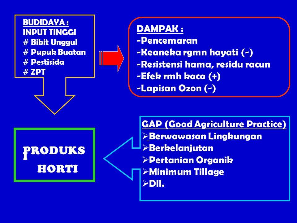 BUDIDAYA : INPUT TINGGI # Bibit Unggul # Pupuk Buatan # Pestisida # ZPT DAMPAK : -Pencemaran -Keaneka rgmn hayati (-) -Resistensi hama, residu racun -