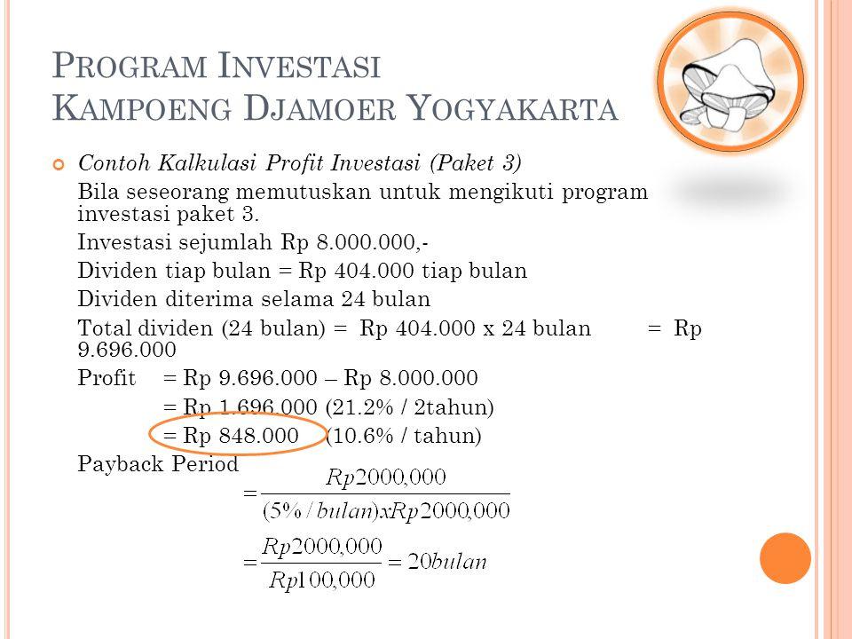 P ROGRAM I NVESTASI K AMPOENG D JAMOER Y OGYAKARTA Contoh Kalkulasi Profit Investasi (Paket 3) Bila seseorang memutuskan untuk mengikuti program inves