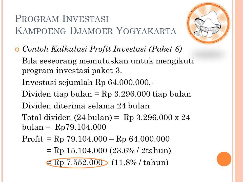Contoh Kalkulasi Profit Investasi (Paket 6) Bila seseorang memutuskan untuk mengikuti program investasi paket 3. Investasi sejumlah Rp 64.000.000,- Di