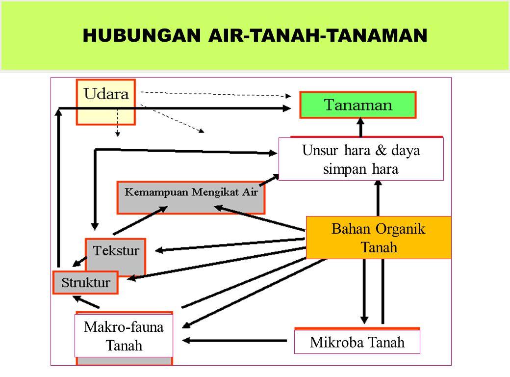 HUBUNGAN AIR-TANAH-TANAMAN Mikroba Tanah Bahan Organik Tanah Makro-fauna Tanah Unsur hara & daya simpan hara