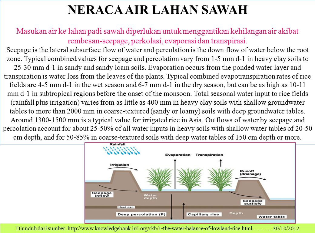 Diunduh dari sumber: http://www.knowledgebank.irri.org/rkb/1-the-water-balance-of-lowland-rice.html ………. 30/10/2012 NERACA AIR LAHAN SAWAH Masukan air