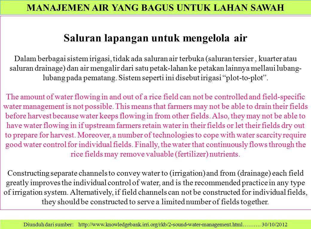 Diunduh dari sumber: http://www.knowledgebank.irri.org/rkb/2-sound-water-management.html………. 30/10/2012 Saluran lapangan untuk mengelola air Dalam ber