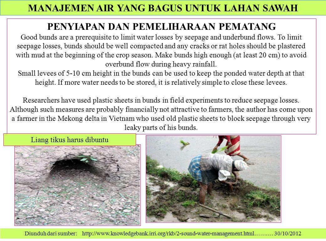 Diunduh dari sumber: http://www.knowledgebank.irri.org/rkb/2-sound-water-management.html………. 30/10/2012 PENYIAPAN DAN PEMELIHARAAN PEMATANG Good bunds