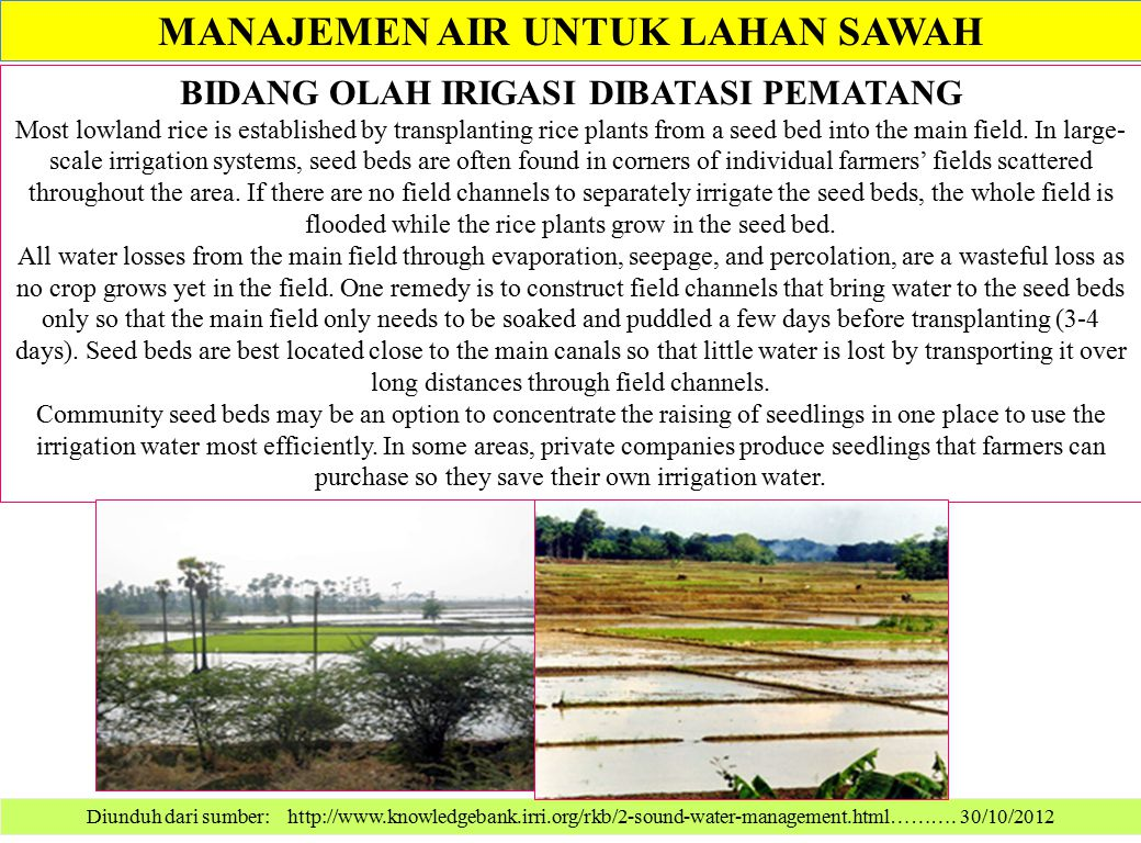 MANAJEMEN AIR UNTUK LAHAN SAWAH Diunduh dari sumber: http://www.knowledgebank.irri.org/rkb/2-sound-water-management.html………. 30/10/2012 BIDANG OLAH IR