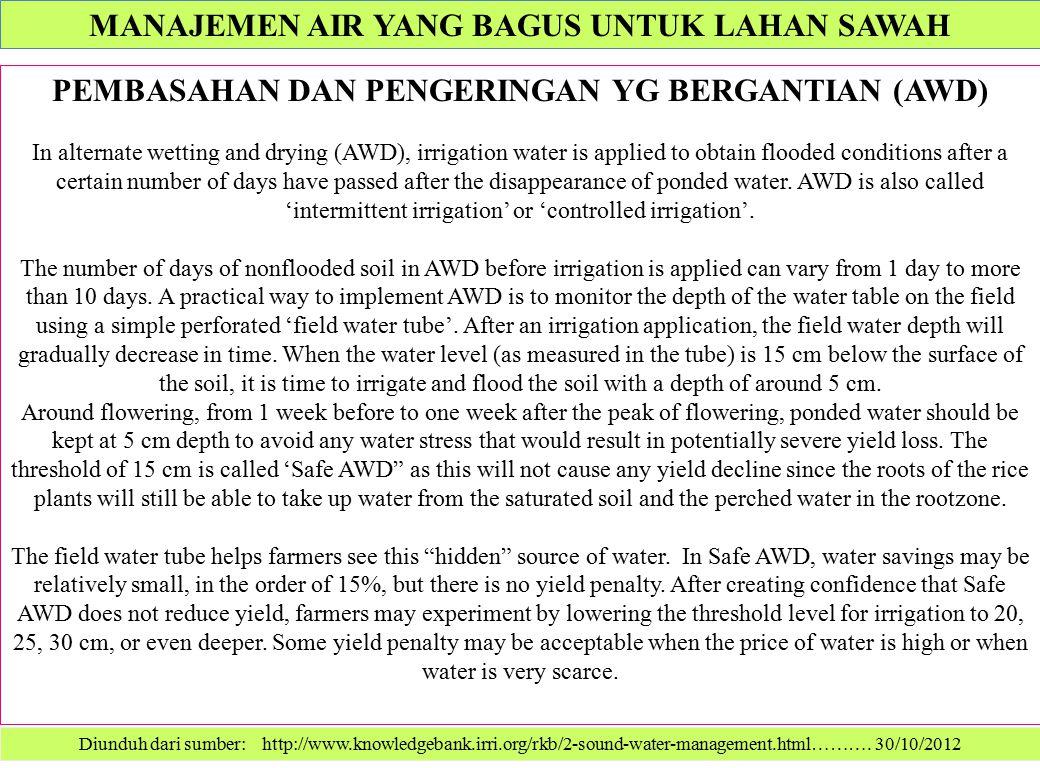 Diunduh dari sumber: http://www.knowledgebank.irri.org/rkb/2-sound-water-management.html………. 30/10/2012 PEMBASAHAN DAN PENGERINGAN YG BERGANTIAN (AWD)