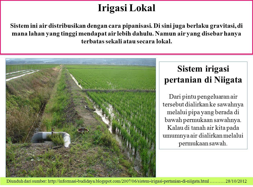 Irigasi Lokal Sistem ini air distribusikan dengan cara pipanisasi. Di sini juga berlaku gravitasi, di mana lahan yang tinggi mendapat air lebih dahulu