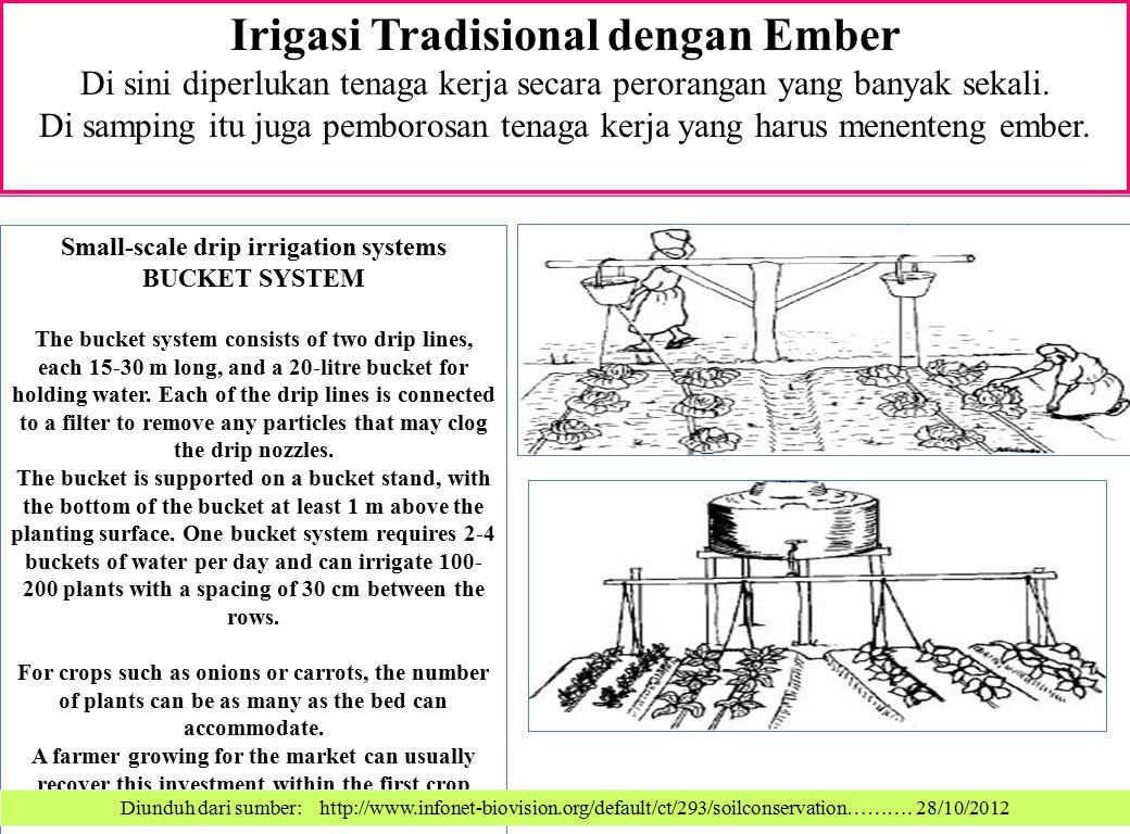 Irigasi Tradisional dengan Ember Di sini diperlukan tenaga kerja secara perorangan yang banyak sekali. Di samping itu juga pemborosan tenaga kerja yan