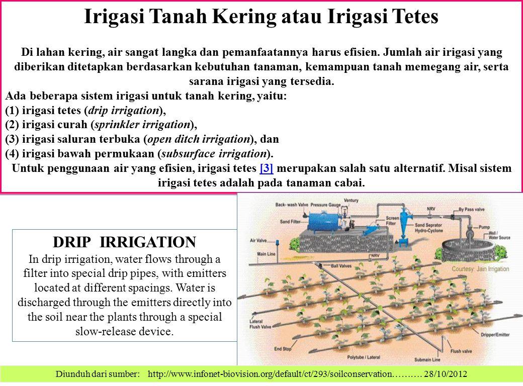 Irigasi Tanah Kering atau Irigasi Tetes Di lahan kering, air sangat langka dan pemanfaatannya harus efisien. Jumlah air irigasi yang diberikan ditetap