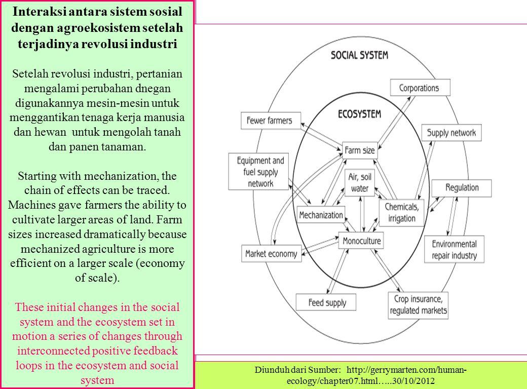 Interaksi antara sistem sosial dengan agroekosistem setelah terjadinya revolusi industri Setelah revolusi industri, pertanian mengalami perubahan dneg