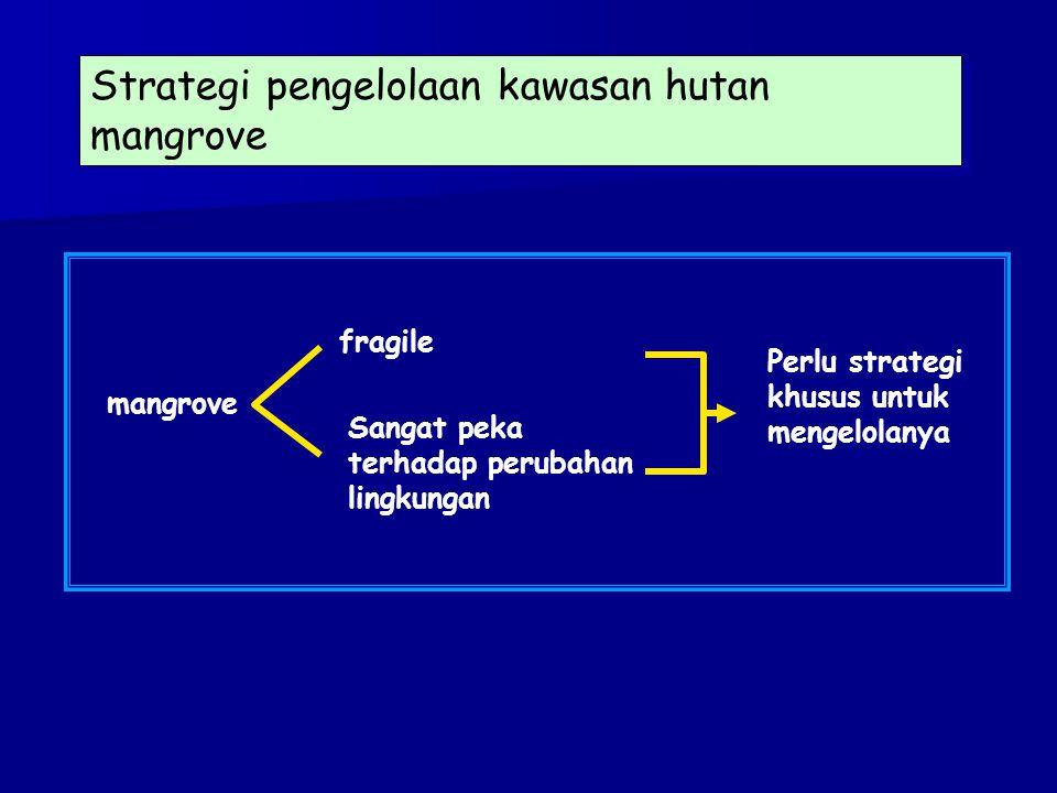 Strategi pengelolaan kawasan hutan mangrove mangrove Sangat peka terhadap perubahan lingkungan fragile Perlu strategi khusus untuk mengelolanya