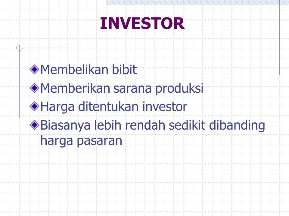 INVESTOR Membelikan bibit Memberikan sarana produksi Harga ditentukan investor Biasanya lebih rendah sedikit dibanding harga pasaran