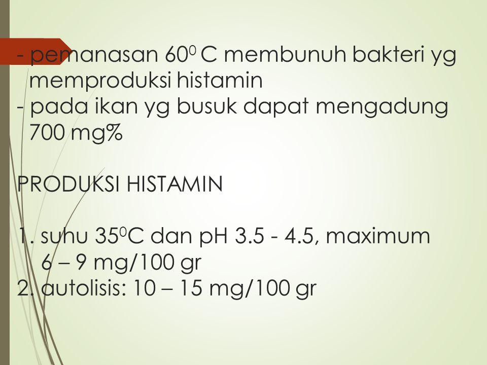- pemanasan 60 0 C membunuh bakteri yg memproduksi histamin - pada ikan yg busuk dapat mengadung 700 mg% PRODUKSI HISTAMIN 1. suhu 35 0 C dan pH 3.5 -