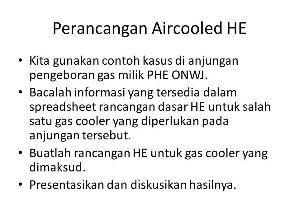 Perancangan Aircooled HE Kita gunakan contoh kasus di anjungan pengeboran gas milik PHE ONWJ. Bacalah informasi yang tersedia dalam spreadsheet rancan