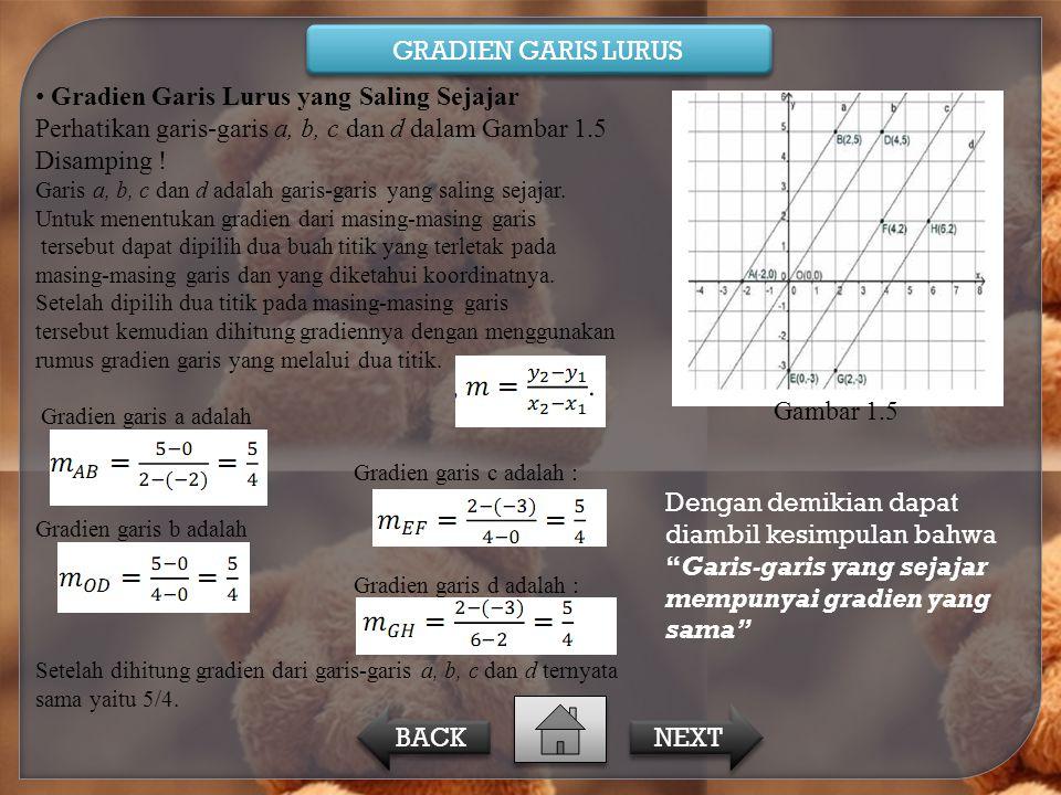 Gradien Garis Lurus yang Saling Sejajar Perhatikan garis-garis a, b, c dan d dalam Gambar 1.5 Disamping ! Garis a, b, c dan d adalah garis-garis yang