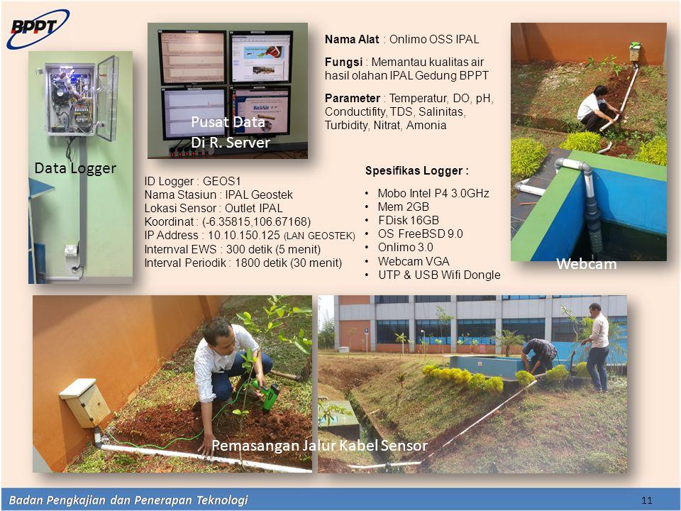 11 Data Logger Pusat Data Di R. Server Pemasangan Jalur Kabel Sensor Webcam ID Logger : GEOS1 Nama Stasiun : IPAL Geostek Lokasi Sensor : Outlet IPAL