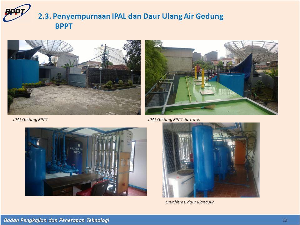 2.3. Penyempurnaan IPAL dan Daur Ulang Air Gedung BPPT 13 Unit filtrasi daur ulang Air IPAL Gedung BPPTIPAL Gedung BPPT dari atas
