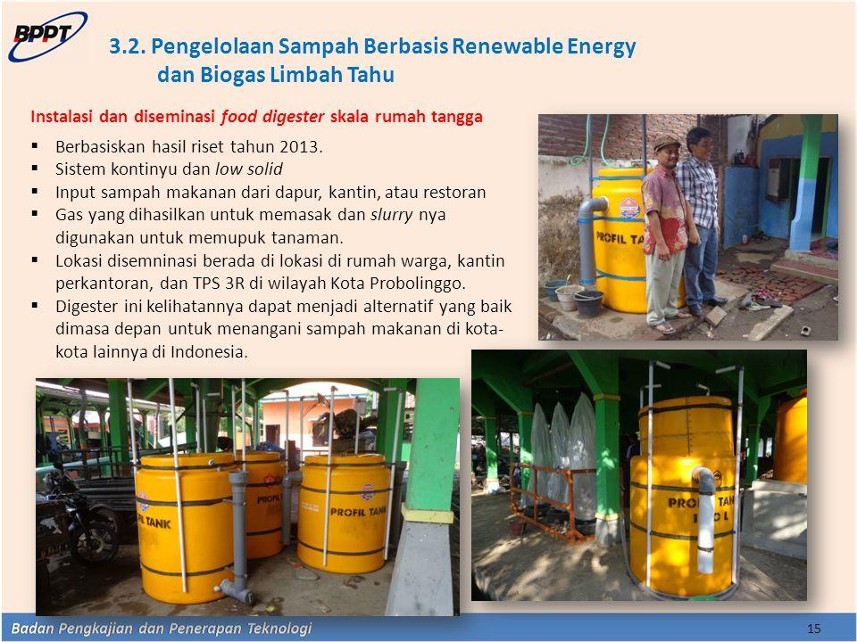 3.2. Pengelolaan Sampah Berbasis Renewable Energy dan Biogas Limbah Tahu 15 Instalasi dan diseminasi food digester skala rumah tangga  Berbasiskan ha