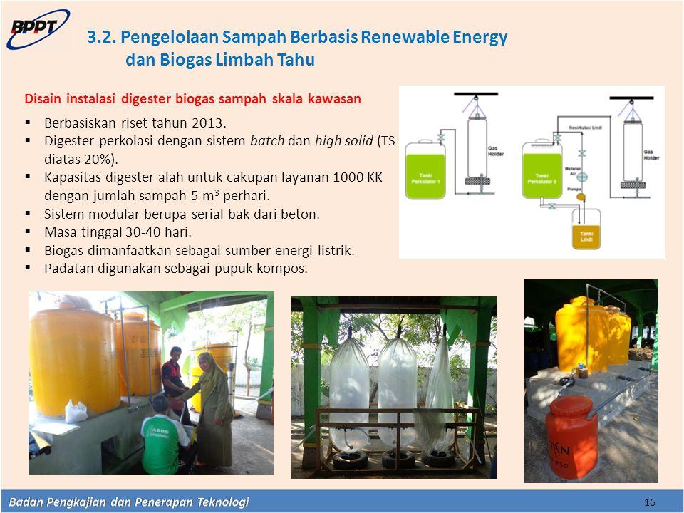 3.2. Pengelolaan Sampah Berbasis Renewable Energy dan Biogas Limbah Tahu 16 Disain instalasi digester biogas sampah skala kawasan  Berbasiskan riset