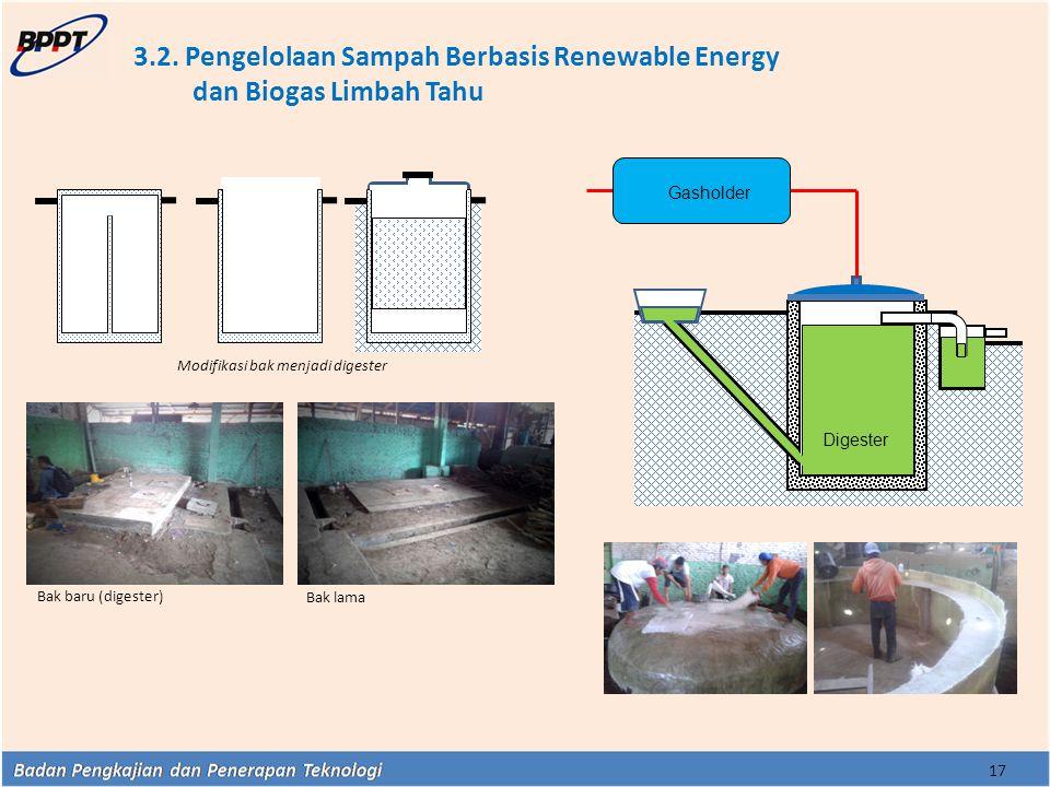 3.2. Pengelolaan Sampah Berbasis Renewable Energy dan Biogas Limbah Tahu 17 Digester Gasholder Modifikasi bak menjadi digester Bak baru (digester) Bak